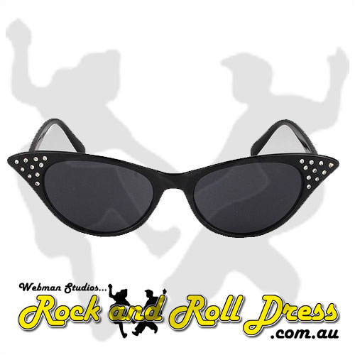 Image of Black cats eye rock and roll sunglasses