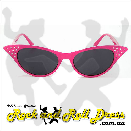 Image of Pink cats eye rock and roll sunglasses