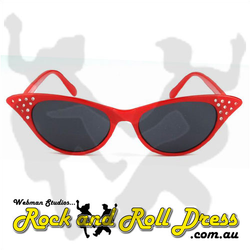 Image of Red cats eye rock and roll sunglasses