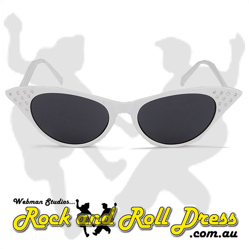 Image of White cats eye rock and roll sunglasses