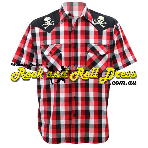 Rockabilly Chaos skull and crossbones western shirt