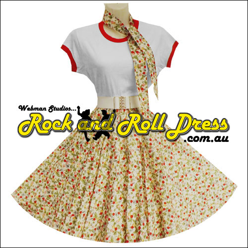 Cherry Berry full circle rockabilly skirt