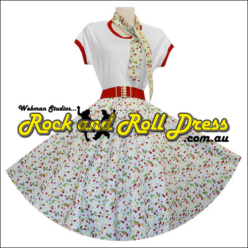 Cherry blue gingham full circle rockabilly skirt