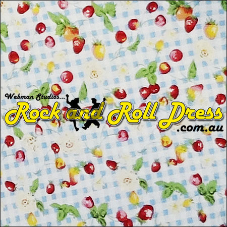 Cherry blue gingham rock and roll skirt S-XL