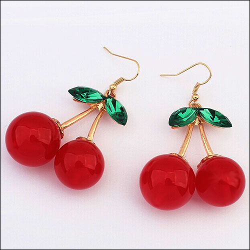 Image of Cherry earrings with green rhinestone leaves