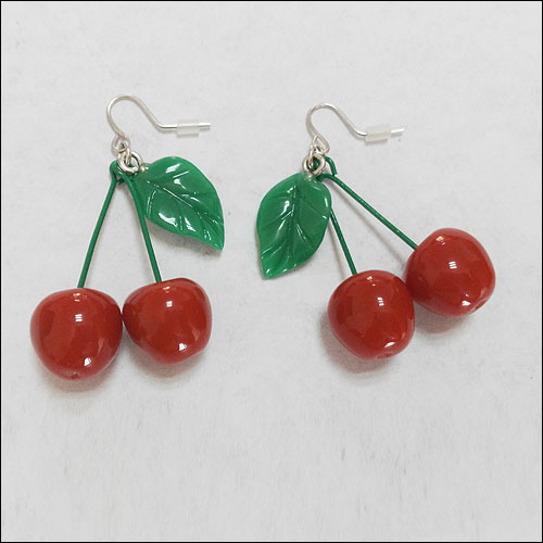 Cherry earrings with green leaf