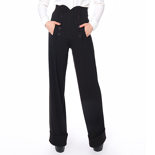 Image of Black high waist button front ladies swing pants