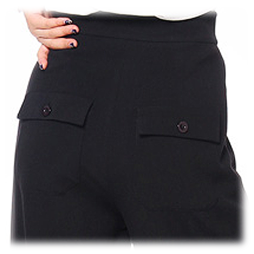 Black high waist button front ladies swing pants