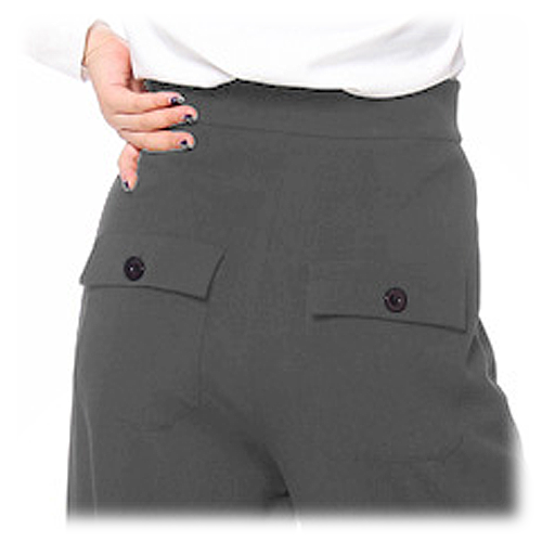 Grey high waist button front ladies swing pants