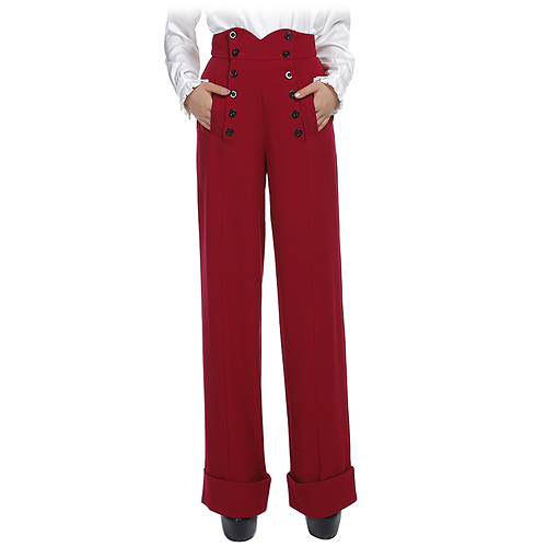 Red high waist button front ladies swing pants