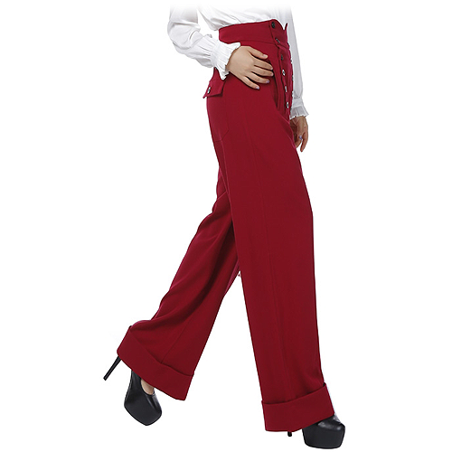 Burgundy high waist button front ladies swing pants