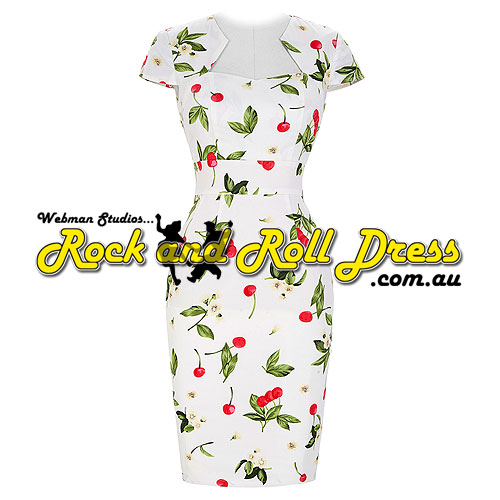 Bridgette cherry on white rock and roll dress M-XL