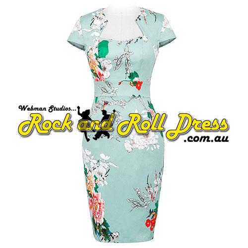 Image of Bridgette Asian floral rockabilly rock n roll swing dress S-XL