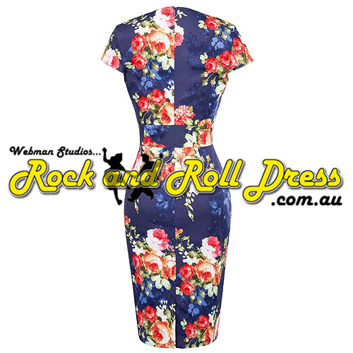 Bridgette floral rock and roll dress S-3XL - Click Image to Close