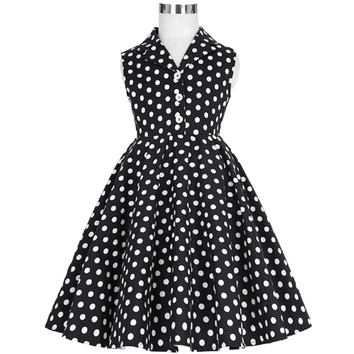 Girls black white polka dot rock n roll swing dress