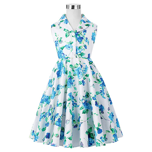 Girls blue floral rock n roll swing dress