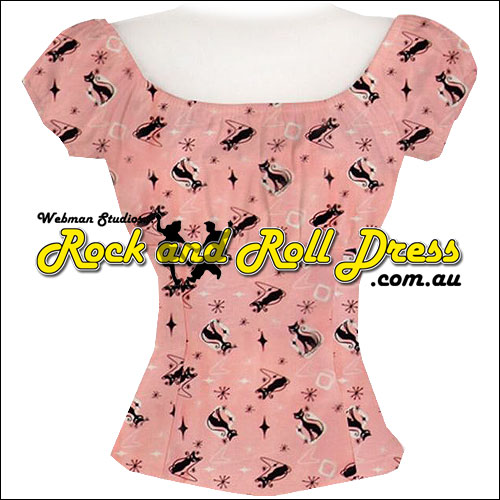 Image of Rockabilly Retro Kitty Pesant Top