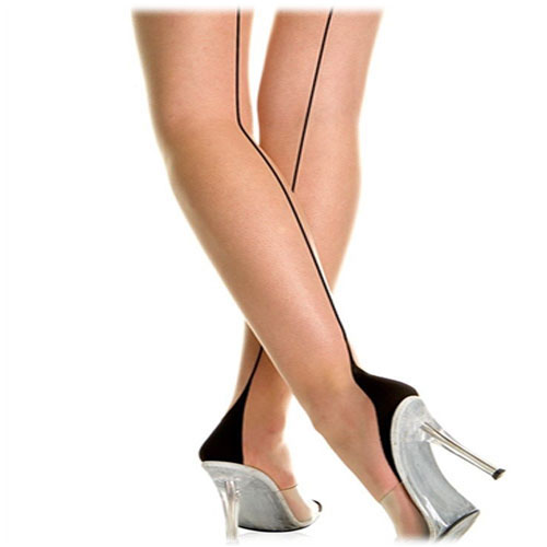Cuban heel back-seam pantyhose Plus