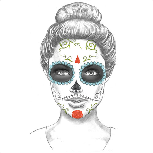 Day of the Dead temporary rock and roll tattoo