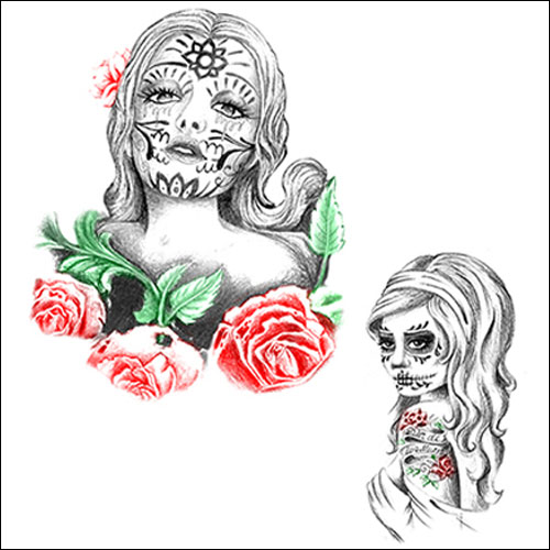 Dia De Los Muertos - Day of the Dead rock and roll tattoo