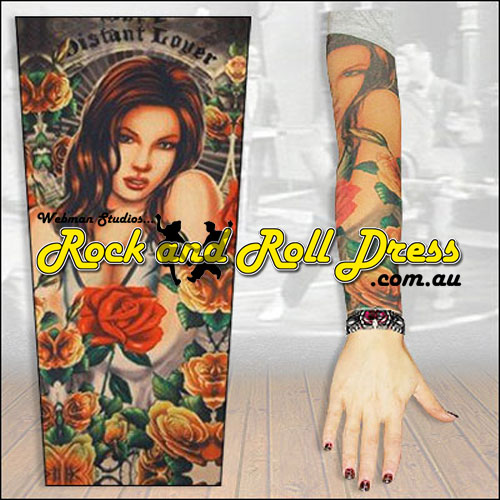 Image of Distant Lover rock and roll tattoo sleeve