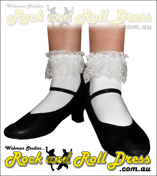 White dual lace top rock and roll bobby socks