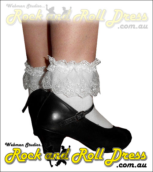 White dual lace top bobby socks