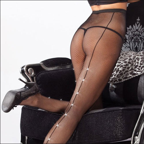 Image of Fishnet rock and roll dance pantyhose with Rhinestone back seam