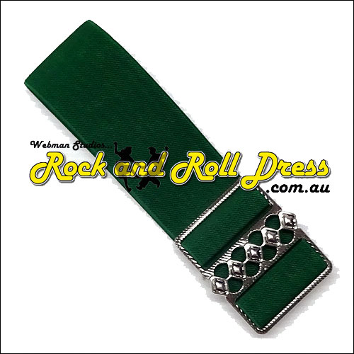 Image of 50mm wide adjustable green rock and roll cinch belt
