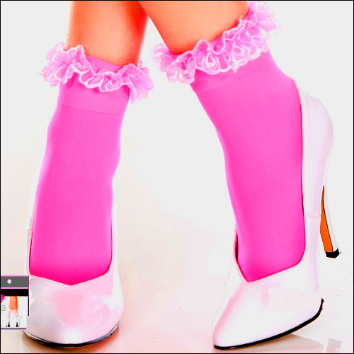 Image of Hot pink lace top rock and roll bobby socks