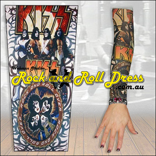 Image of KISS rock and roll tattoo sleeve