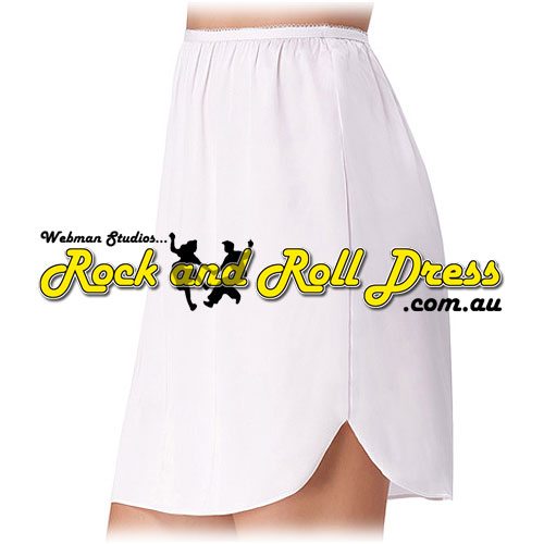 Rock and Roll dress white satin half slip
