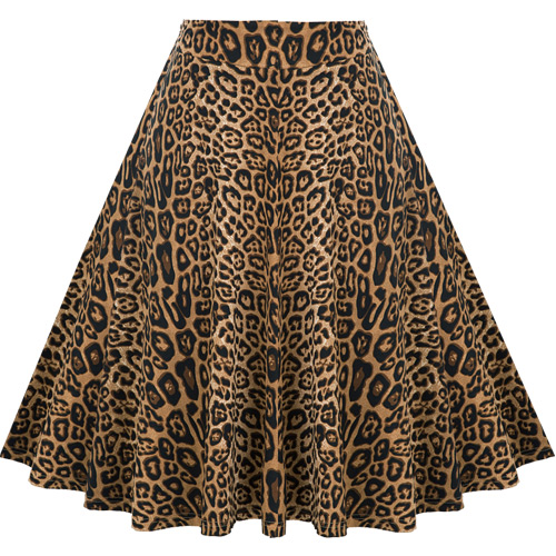 Leopard print circle skirt S-3XL
