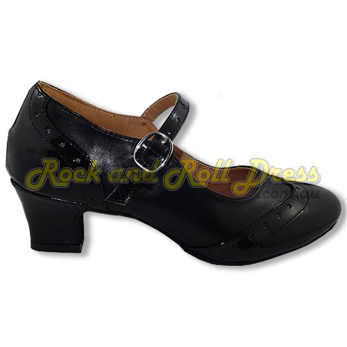 Ladies black rock and roll dance shoes in sizes 4 - 12.5