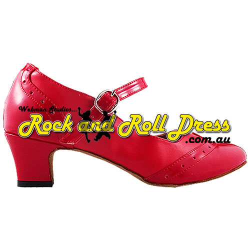 Ladies red rock and roll dance shoes in sizes 4 - 10
