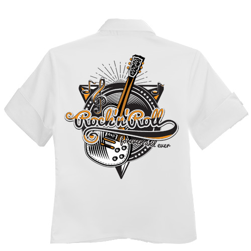 Rocket 88 Rock and Roll Forever ladies workshirt XS-3XL White