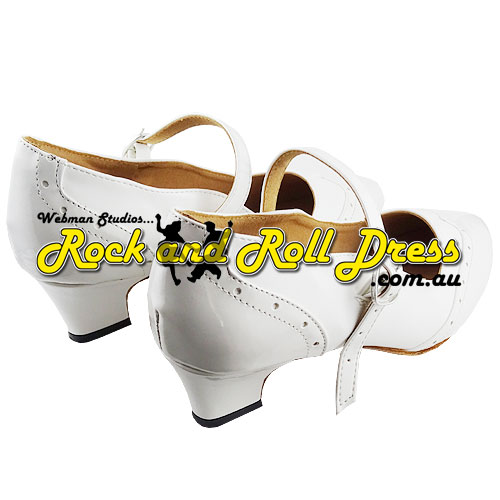 Ladies white rock and roll dance shoes in sizes 4 - 10