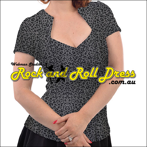Leopard print rockabilly sweetheart top