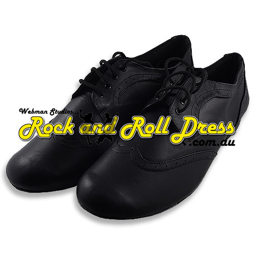 Men's black 50's rock and roll dance shoes in sizes 6 - 16