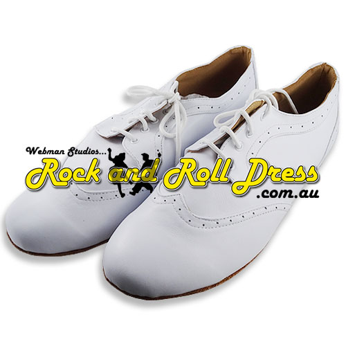 Image of Men's white rock and roll dance shoes in sizes 6 - 16