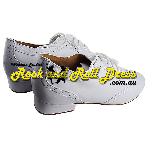 Men's white rock and roll dance shoes in sizes 6 - 16