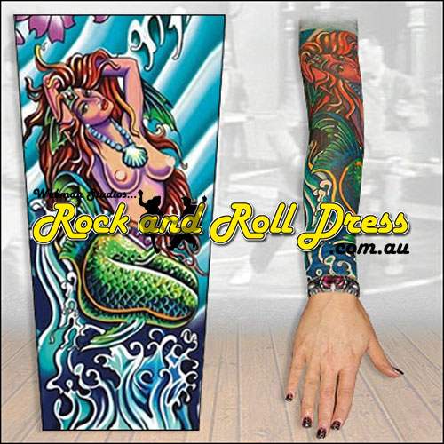 Image of Mermaid rock and roll tattoo sleeve
