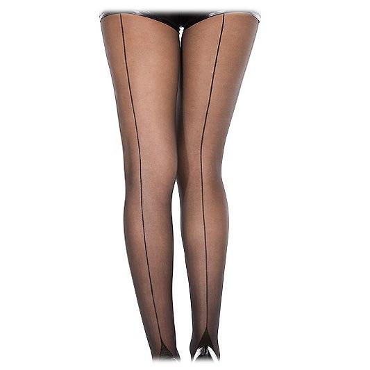 Image of Cuban heel black back-seam pantyhose