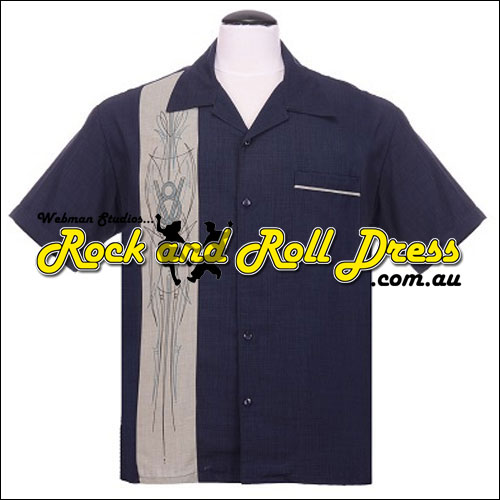 Rock Steady V8 navy rock and roll bowling shirt XS - 4XL