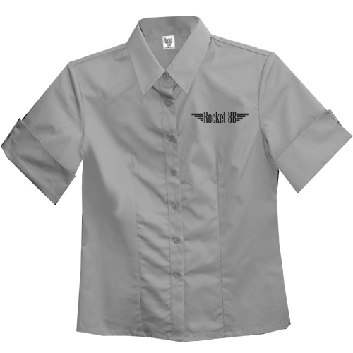 Rocket 88 Old School Pinup ladies workshirt XS-3XL Grey - Click Image to Close