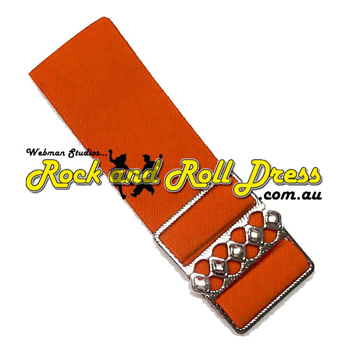 Image of 50mm wide adjustable orange rock and roll cinch belt