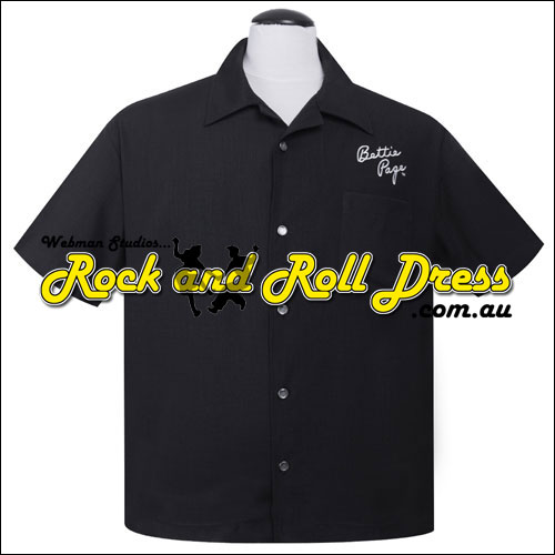 Image of Bettie Page signature rock and roll shirt