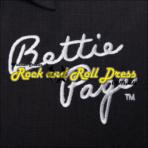 Bettie Page signature black bowling shirt