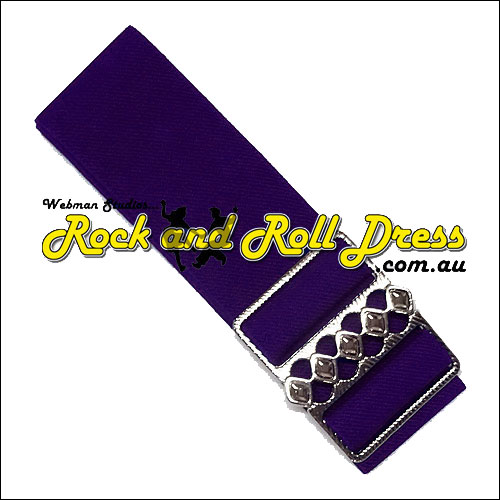 Image of 50mm wide adjustable purple rock and roll cinch belt