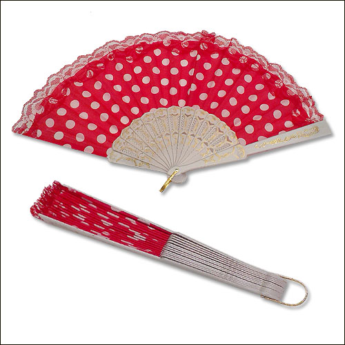 Image of Red white polka dot lace top rock and roll hand fan